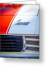 1969 Chevrolet Camaro Rs-ss Indy Pace Car Replica Hood Emblem Greeting Card