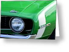 1969 Chevrolet Camaro Ss Headlight Emblems Greeting Card by Jill Reger