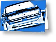 1969 Chevy Camaro Ss - Blue Negative Greeting Card