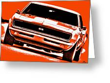 1969 Chevy Camaro Ss - Orange Greeting Card