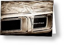 1969 Pontiac Firebird 400 Grille Emblem Greeting Card