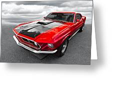 1969 Red 428 Mach 1 Cobra Jet Mustang Greeting Card