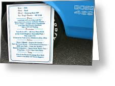 1970 Boss 429 Fact Placard Greeting Card