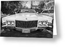 1970 Cadillac Coupe Deville Convertible Painted Bw Greeting Card