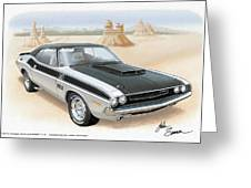 1970 Challenger T-a Dodge Muscle Car Sketch Rendering Greeting Card by John Samsen