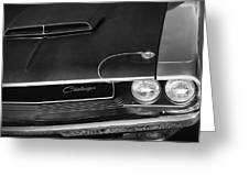 1970 Dodge Challenger T/a In Black And White Greeting Card