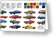 1970 Dodge Coronet Models And Colors Greeting Card