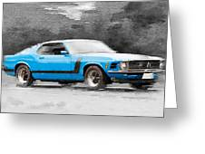 1970 Ford Mustang Boss Blue Watercolor Greeting Card