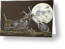 1970 Harley Chopper - Harley Moon Greeting Card