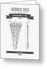 1970 Lacrosse Stick Patent Drawing - Retro Gray Greeting Card