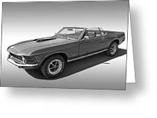 1970 Mach 1 Mustang 351 Cleveland In Black And White Greeting Card