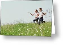 1970s Boy Girl Running Field Greeting Card