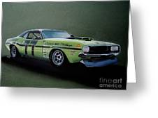 1970's Challenger Race Car Greeting Card