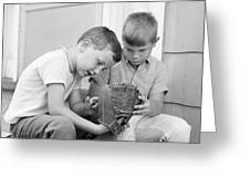 1970s Two Boys Seriously Inspecting New Greeting Card