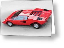 1974 Lamborghini Countach Watercolor Greeting Card