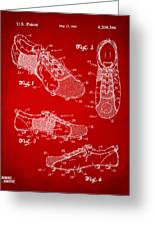 1980 Soccer Shoes Patent Artwork - Red Greeting Card