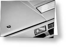 1982 Lamborghini Countach 5000s Hood Emblem -1518bw Greeting Card