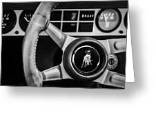 1982 Lamborghini Countach 5000s Steering Wheel Emblem -1549bw Greeting Card