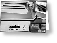 1982 Lamborghini Countach 5000s Taillight Emblem -0453bw Greeting Card