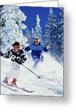 1990s Couple Skiing Vail Colorado Usa Greeting Card