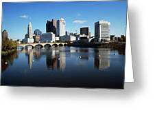 1990s Skyline Along The Scioto River Greeting Card