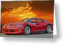 1995 Dodge Viper At Sunset Greeting Card