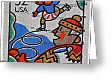 1996 Winter Skaters Stamp Greeting Card