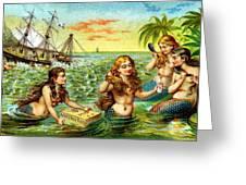 19th C. Mermaids At Ship Wreck Greeting Card