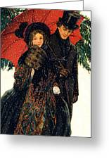 19th C. Young Couple In Winter Greeting Card