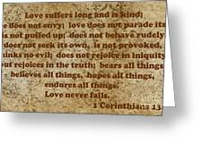 1st Corinthians 13 Verses 4-7 Greeting Card