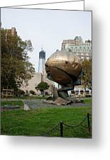 1w T C And The W T C Fountain Sphere Greeting Card