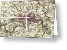 18th Century Map Of London Greeting Card