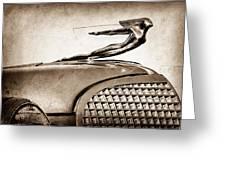 1937 Cadillac V8 Hood Ornament Greeting Card
