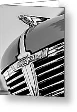 1938 Chevrolet Coupe Hood Ornament -0216bw Greeting Card