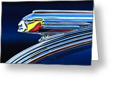 1939 Pontiac Silver Streak Chief Hood Ornament Greeting Card