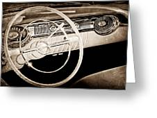 1956 Oldsmobile Starfire 98 Steering Wheel And Dashboard Greeting Card