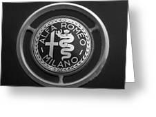 1961 Alfa Romeo Giulietta Sprint Veloce Series II Emblem -1045bw Greeting Card