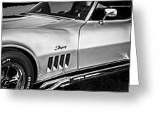 1969 Chevrolet Corvette 427  Bw Greeting Card