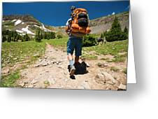 A Backpacker Hiking Greeting Card