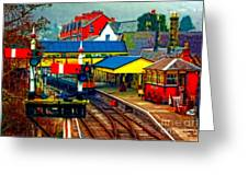 A Digitally Converted Painting Of Llangollen Railway Station North Wales Uk Greeting Card