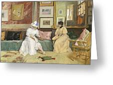 A Friendly Call Greeting Card by William Merritt Chase