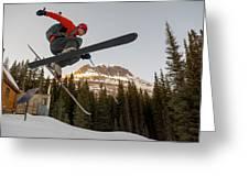 A Man Jumping On His Skis, San Juan Greeting Card