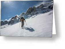 A Man Ski Touring In The Mountains Greeting Card