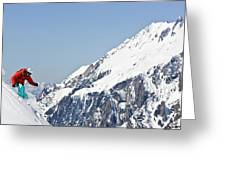 A Man Skis Untracked Powder Off-piste Greeting Card