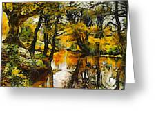 A River Landscape In Springtime Greeting Card