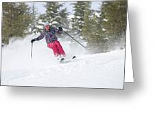 A Skier Descends A Snowy Slope Greeting Card