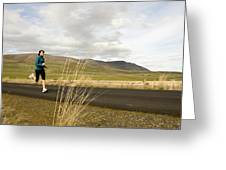 A Woman Out For A Jog In The Country Greeting Card