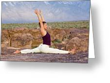 A Woman Practicing Yoga On A Dry Lake Greeting Card