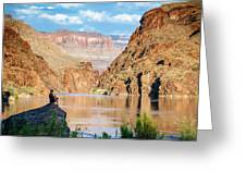 A Woman Sits By The Colorado River Greeting Card