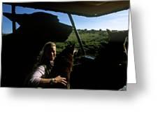 A Woman Sits In Her Safari Jeep Greeting Card